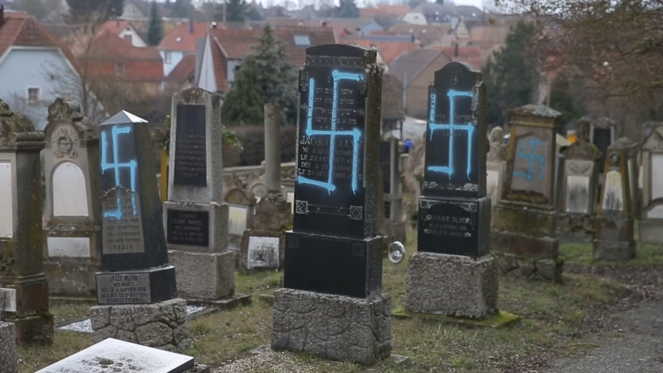 "Image result for ""Vandals Desecrate 90 Jewish Graves in East France Ahead of Marches"
